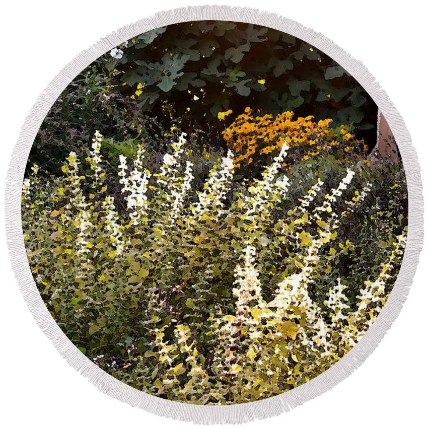 Flower Round Beach Towel featuring the photograph Lost In The Flower Garden by Kim Bemis