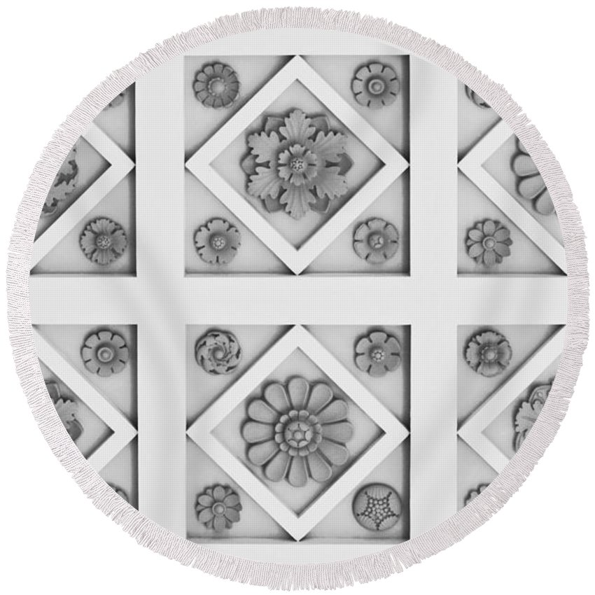 Getty Round Beach Towel featuring the photograph Getty Villa Coffered Peristyle Ceiling by Teresa Mucha