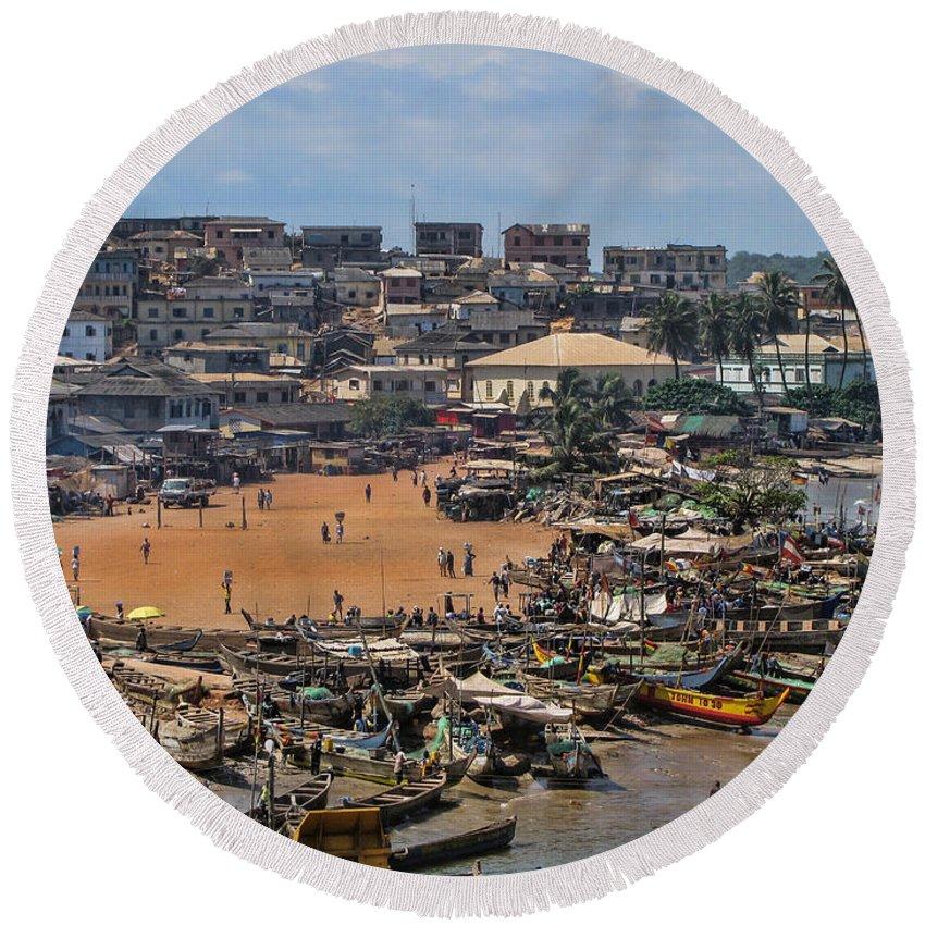 Elmina Round Beach Towel featuring the photograph Ghana Africa by David Gleeson