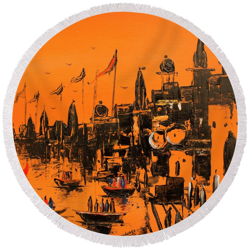 Landscape Round Beach Towel featuring the drawing Ghats Of Varanasi by Gyan Chandra