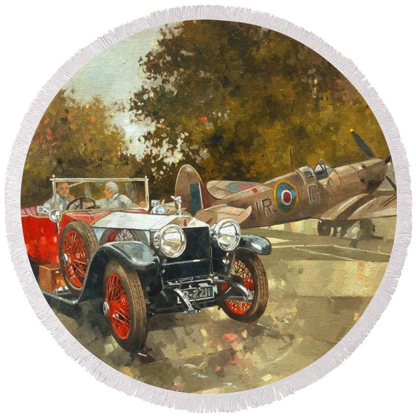 Rolls Royce; Car; Vehicle; Vintage; Automobile; Airplane; Aeroplane; Plane; Aircraft; Raf; Royal Air Force; Spitfire; Classic Car; Old Timer Round Beach Towel featuring the painting Ghost And Spitfire by Peter Miller