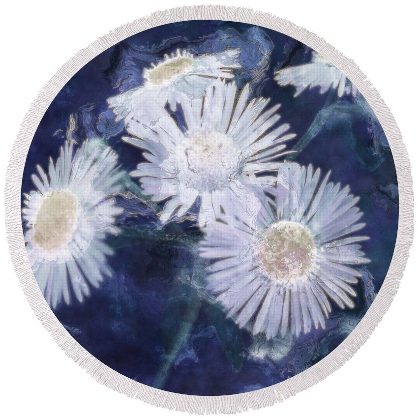 Asters Round Beach Towel featuring the painting Ghost Flowers by RC deWinter