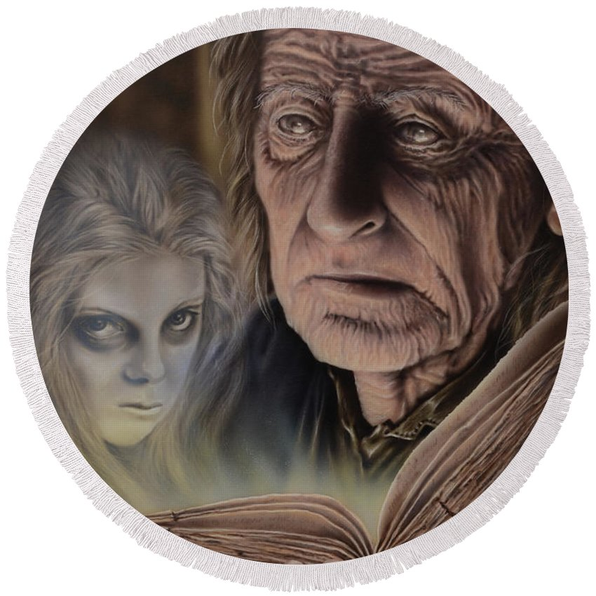 Airbrush Round Beach Towel featuring the painting Ghost In The Book by Robert Haasdijk