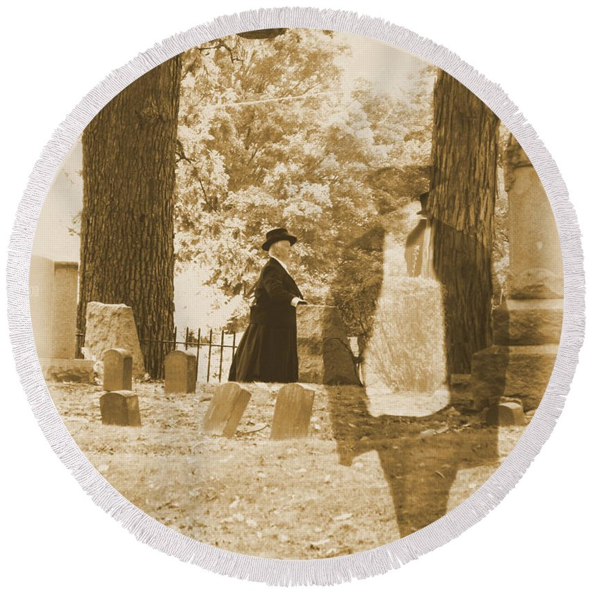 Art Round Beach Towel featuring the photograph Ghost In The Graveyard by September Stone