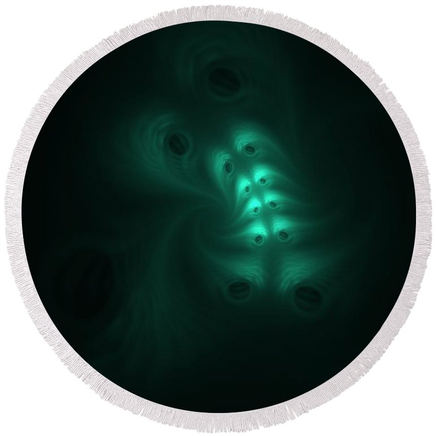 Digital Painting Round Beach Towel featuring the digital art Ghost In The Machine by David Lane
