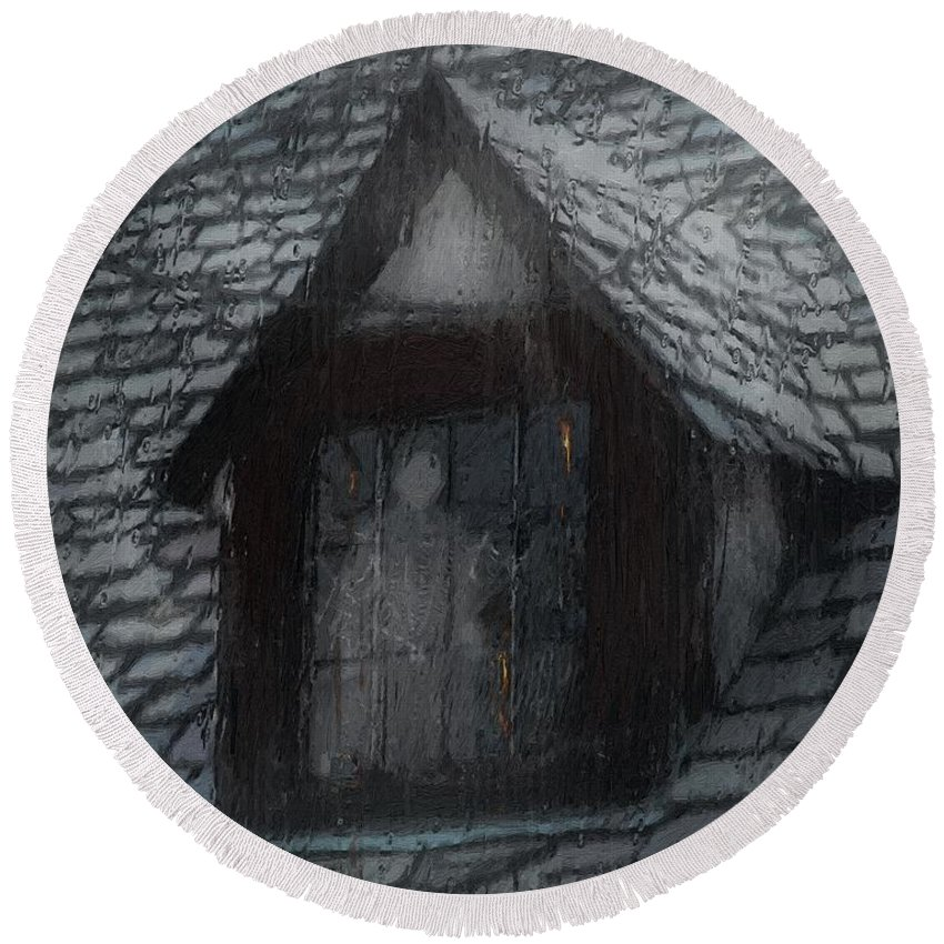 Ghost Round Beach Towel featuring the painting Ghost Rain by RC DeWinter