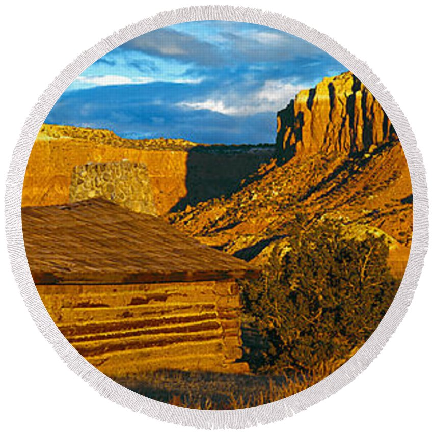 Photography Round Beach Towel featuring the photograph Ghost Ranch At Sunset, Abiquiu, New by Panoramic Images