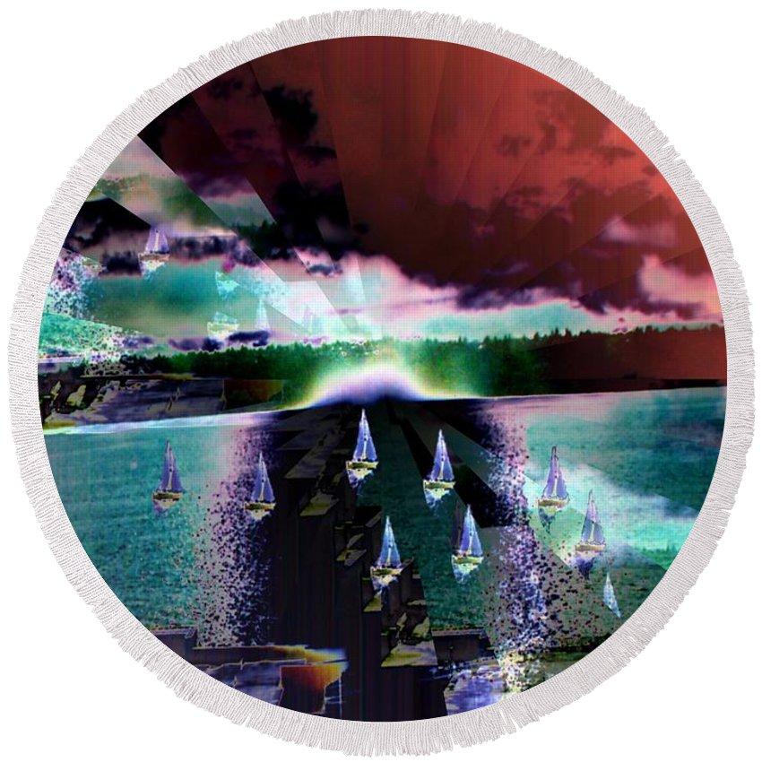 Seattle Round Beach Towel featuring the digital art Ghost Regatta by Tim Allen