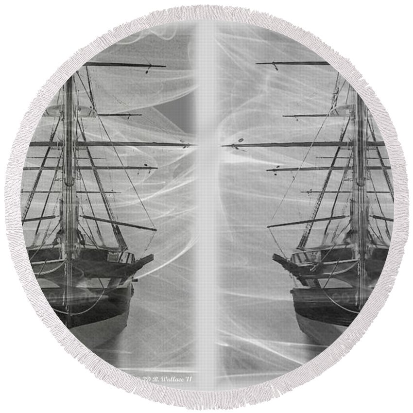 3d Round Beach Towel featuring the photograph Ghost Ship - Gently Cross Your Eyes And Focus On The Middle Image by Brian Wallace