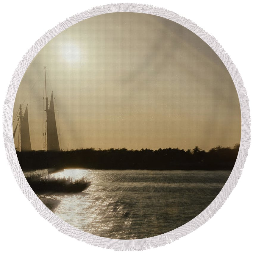 Boat Round Beach Towel featuring the photograph Ghost Ship by Jim Shackett
