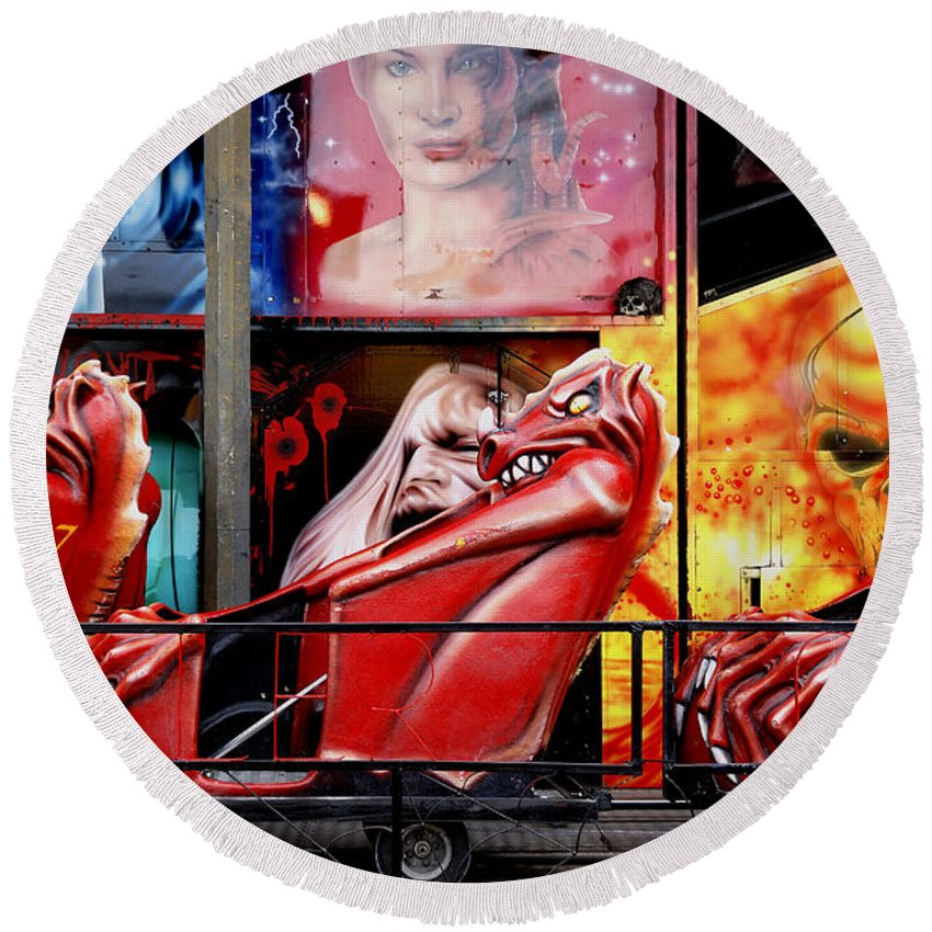 Ghost-train Round Beach Towel featuring the photograph Ghost Train by Wayne Sherriff