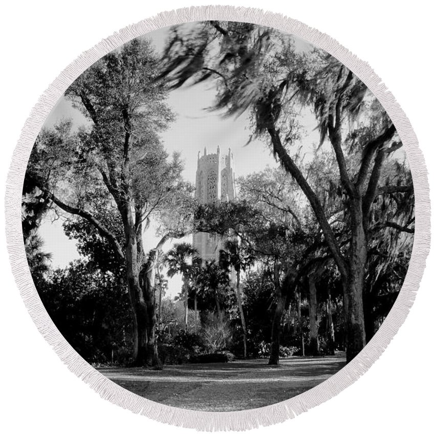 Bok Tower Round Beach Towel featuring the photograph Ghostly Bok Tower by David Lee Thompson
