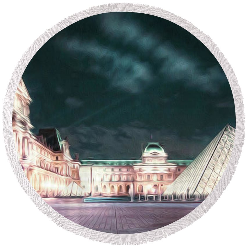 Paris Round Beach Towel featuring the photograph Ghosts Of The Louvre Museum 2 Art by Alex Art and Photo