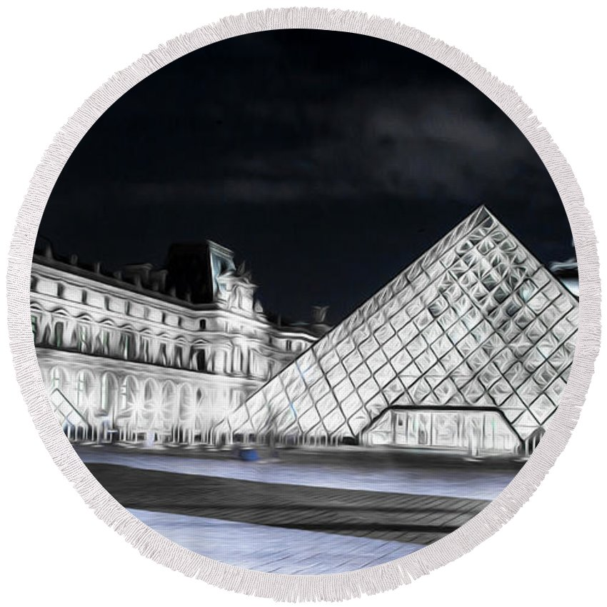 Paris Round Beach Towel featuring the photograph Ghosts Of The Louvre Museum Art by Alex Art and Photo