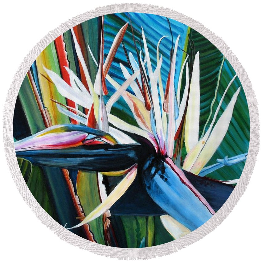 Bird Round Beach Towel featuring the painting Giant Bird Of Paradise by Marionette Taboniar