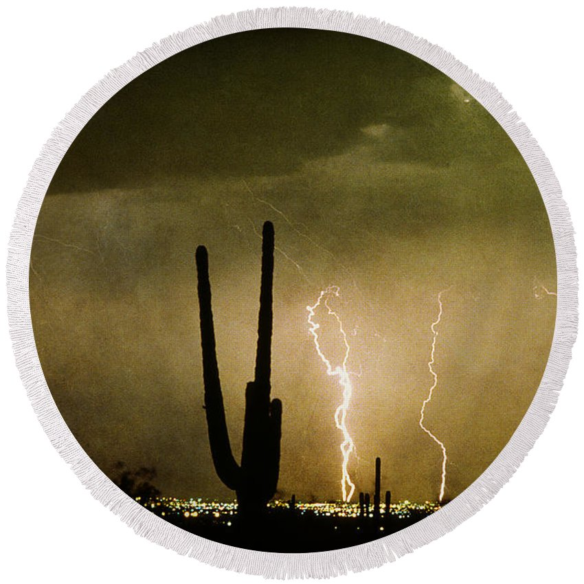 Lightning Round Beach Towel featuring the photograph Giant Saguaro Southwest Lightning Peace Out by James BO Insogna