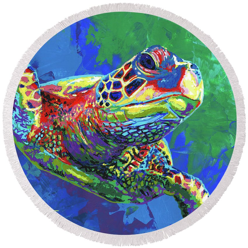 Sea Turtle Round Beach Towel featuring the painting Giant Sea Turtle by Maria Arango