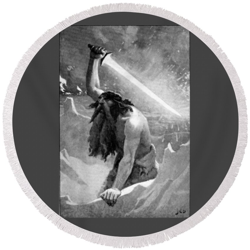 Witchcraft Round Beach Towel featuring the digital art Giant With A Flaming Sword by Frederick Holiday