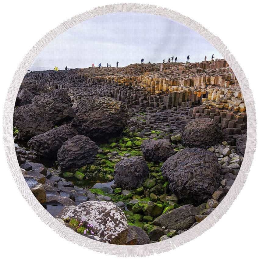 Northern Round Beach Towel featuring the photograph Giants Causeway, Northern Ireland by Bob Cuthbert