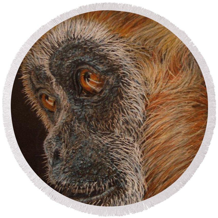Animals Round Beach Towel featuring the drawing Gibbon by Karen Ilari