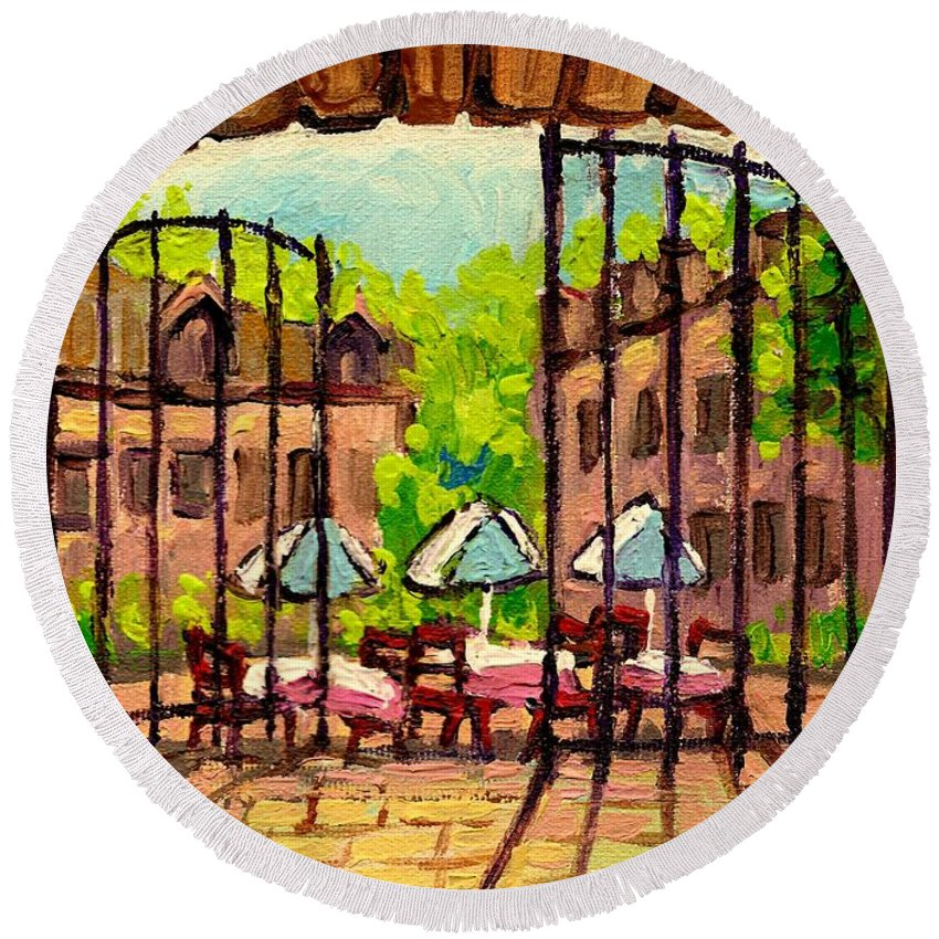 Gibbys Round Beach Towel featuring the painting Gibbys Restaurant In Old Montreal by Carole Spandau
