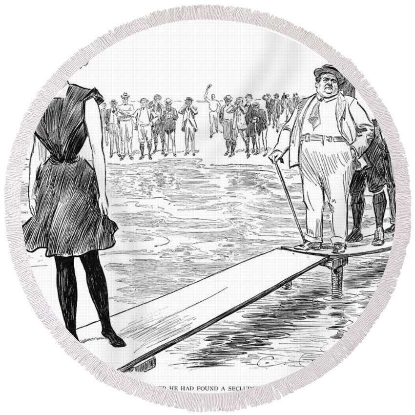 1900 Round Beach Towel featuring the photograph Gibson: Bather, 1900 by Granger