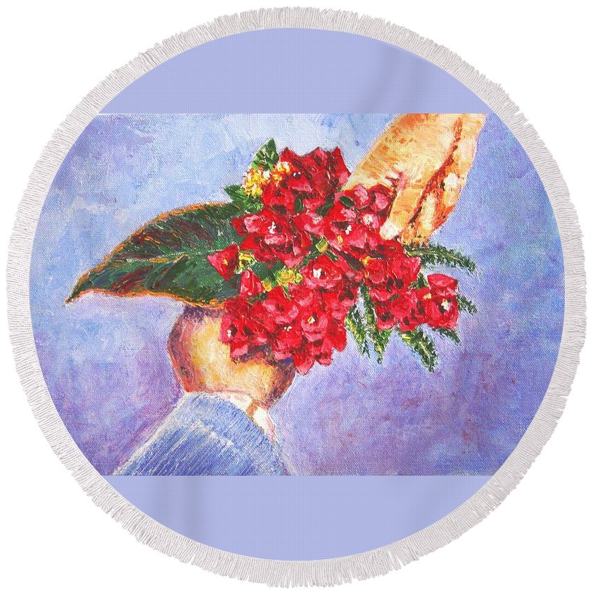 Gift Round Beach Towel featuring the painting Gift A Bouquet - Bougenvillea by Usha Shantharam