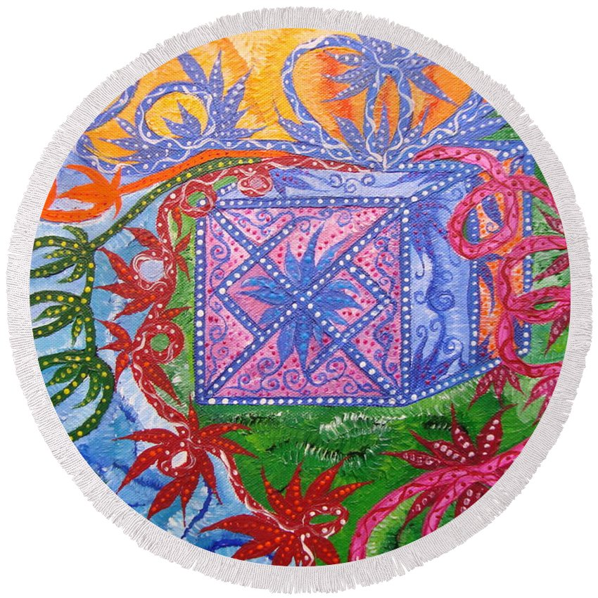 Symbol Round Beach Towel featuring the painting Gift by Joanna Pilatowicz