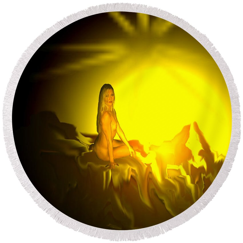 Nude Naked Sun Drawing Digital Mountain Earth Star Woman Round Beach Towel featuring the digital art Gift Of Sun by Andrea Lawrence