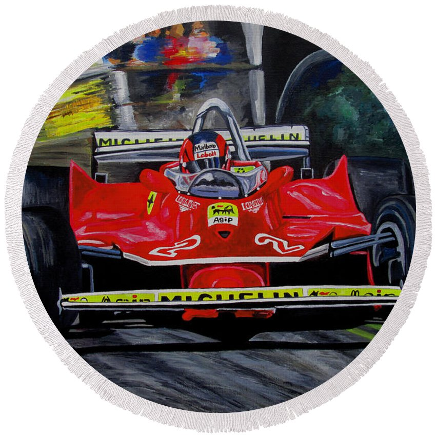 Gilles Villeneuve Round Beach Towel featuring the painting Gilles Villeneuve At The Limit by Jose Mendez
