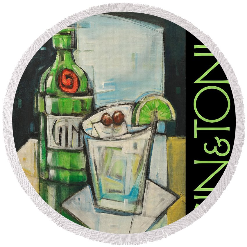 Beverage Round Beach Towel featuring the painting Gin And Tonic Poster by Tim Nyberg
