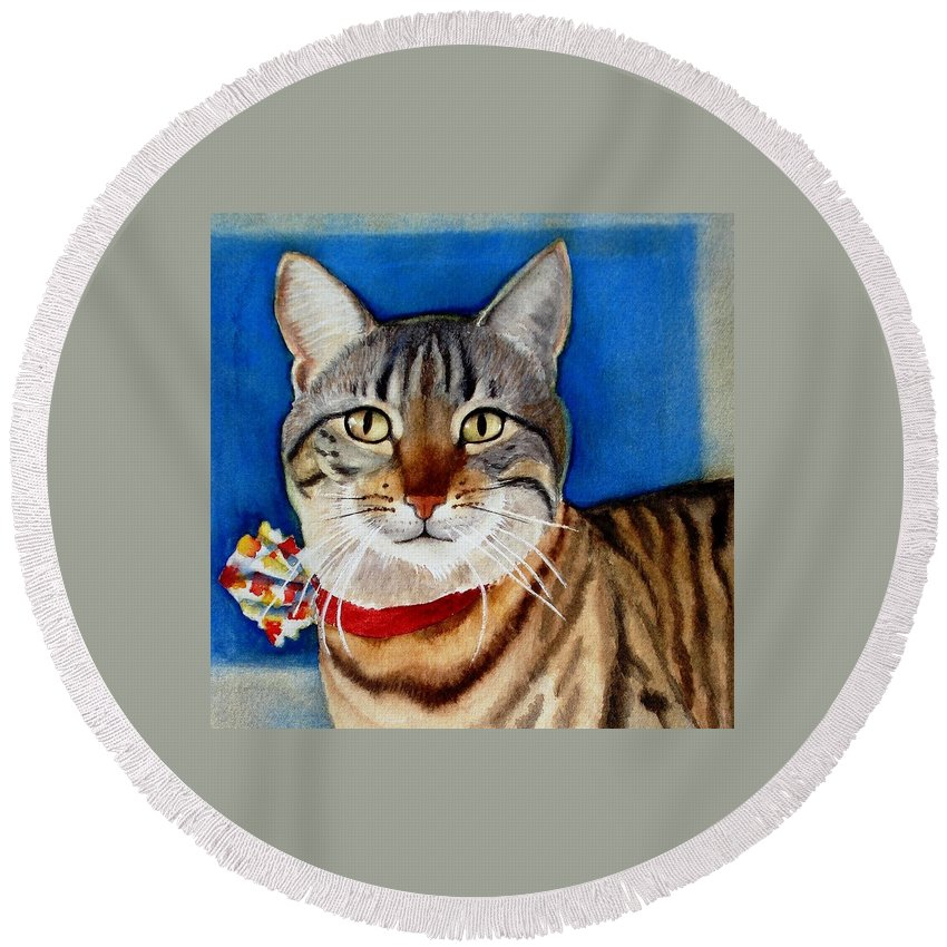 Cat Round Beach Towel featuring the painting Ginger by Marilyn Jacobson