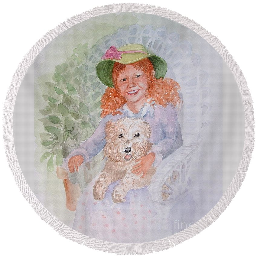 Portrait Round Beach Towel featuring the painting Ginger by Marilyn Smith