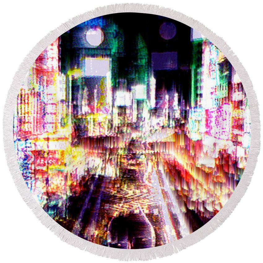 Tokyo Round Beach Towel featuring the digital art Ginsa Glitz by Seth Weaver