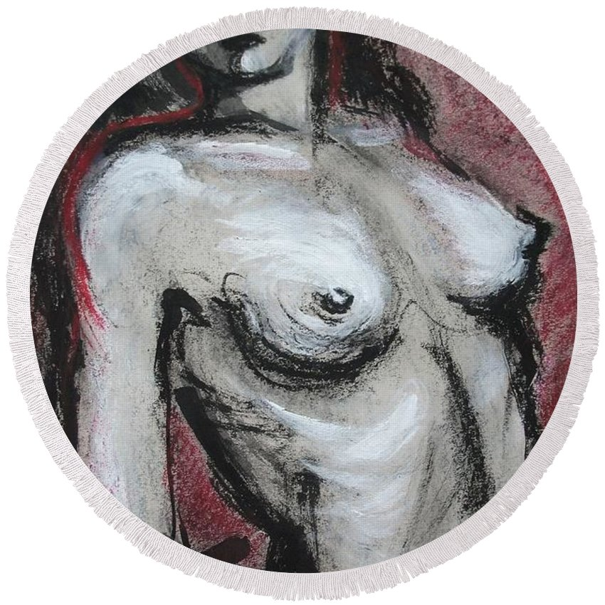 Gipsy Round Beach Towel featuring the painting Gipsy Fire - Nudes Gallery by Carmen Tyrrell