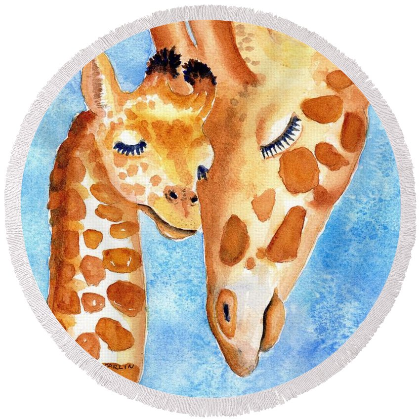 Giraffe Round Beach Towel featuring the painting Giraffe Baby And Mother by Carlin Blahnik CarlinArtWatercolor