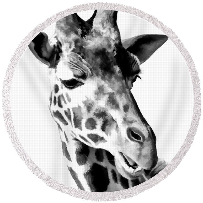 Giraffe Round Beach Towel featuring the photograph Giraffe Black And White by Athena Mckinzie