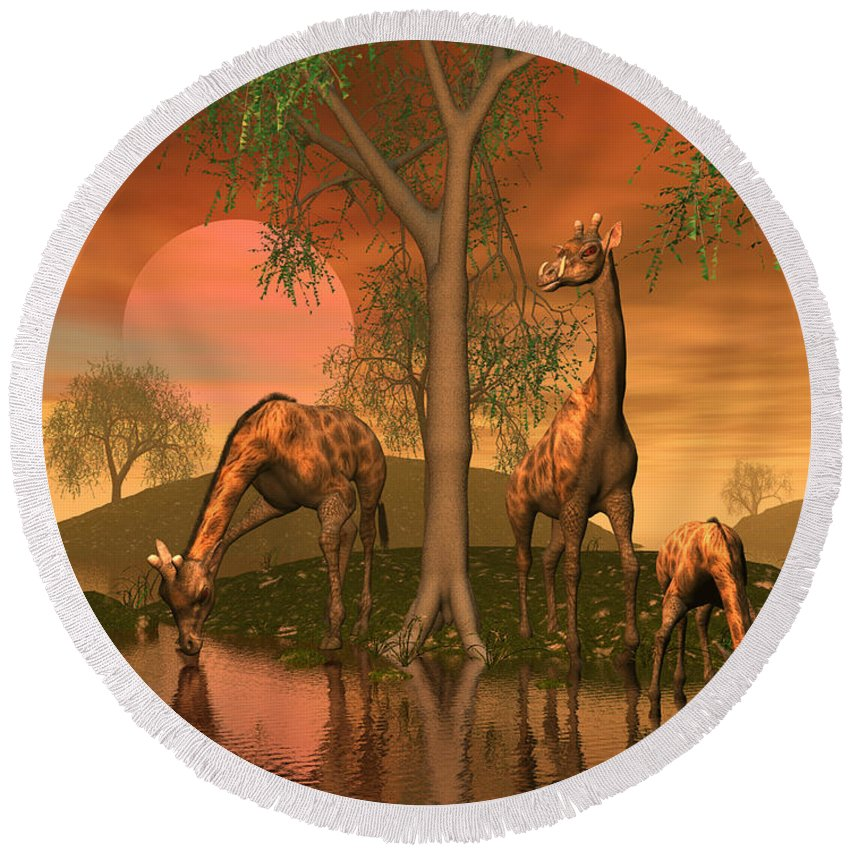 Animals Round Beach Towel featuring the digital art Giraffe Family By John Junek by John Junek