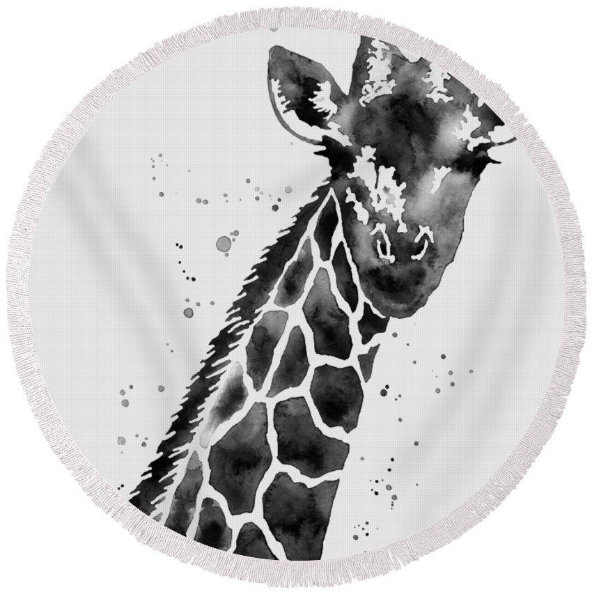 Giraffe Round Beach Towel featuring the painting Giraffe in Black and White by Hailey E Herrera