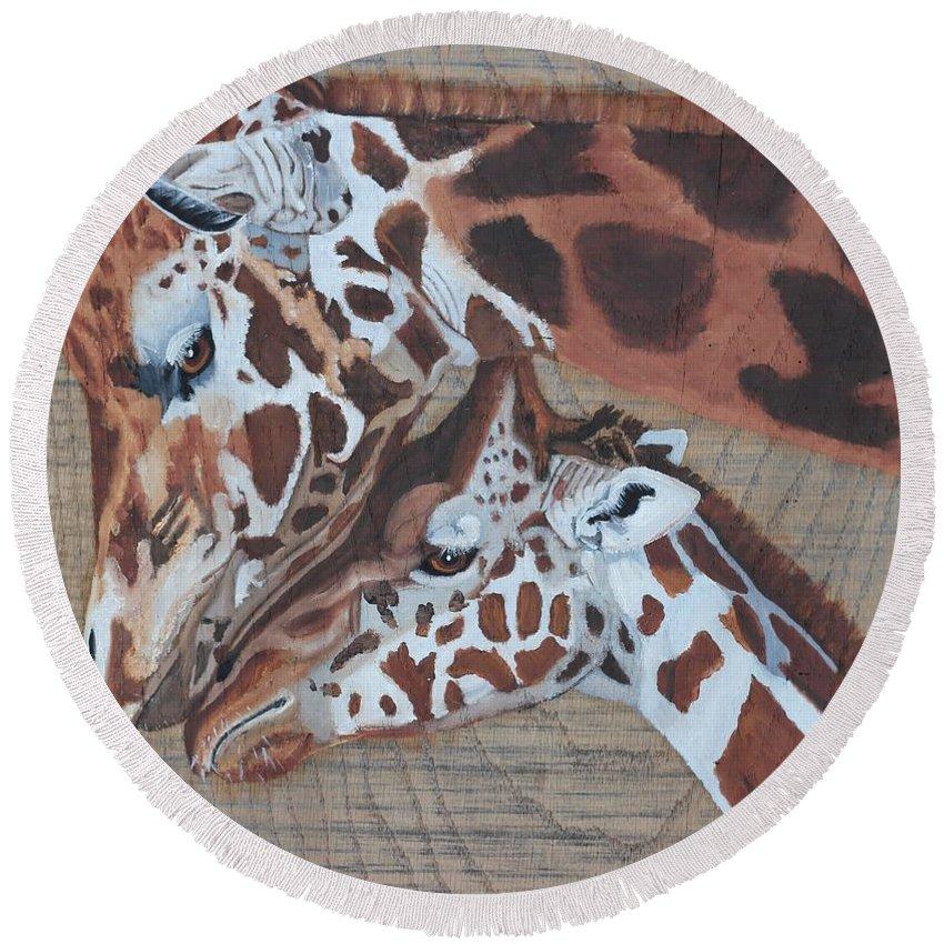 Giraffe Round Beach Towel featuring the painting Giraffe Love by Debbie LaFrance