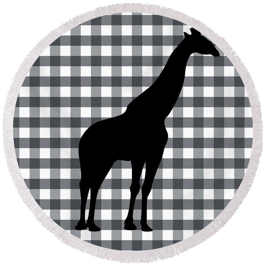 Giraffe Round Beach Towel featuring the digital art Giraffe Silhouette by Linda Woods