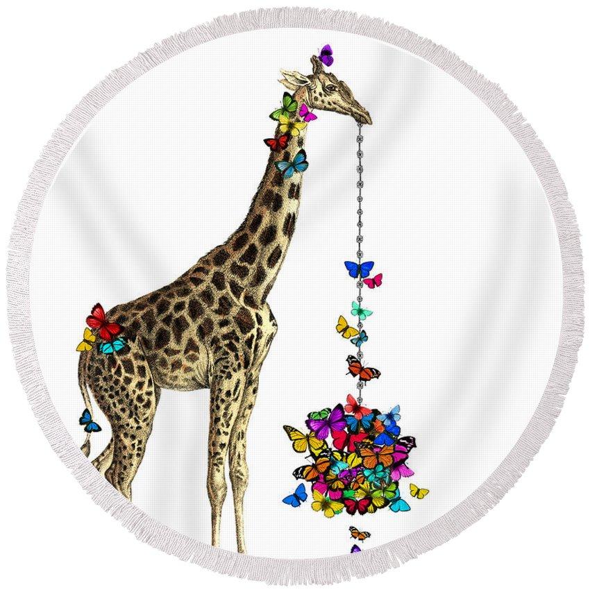 Giraffe Round Beach Towel featuring the digital art Giraffe With Colorful Rainbow Butterflies by Madame Memento