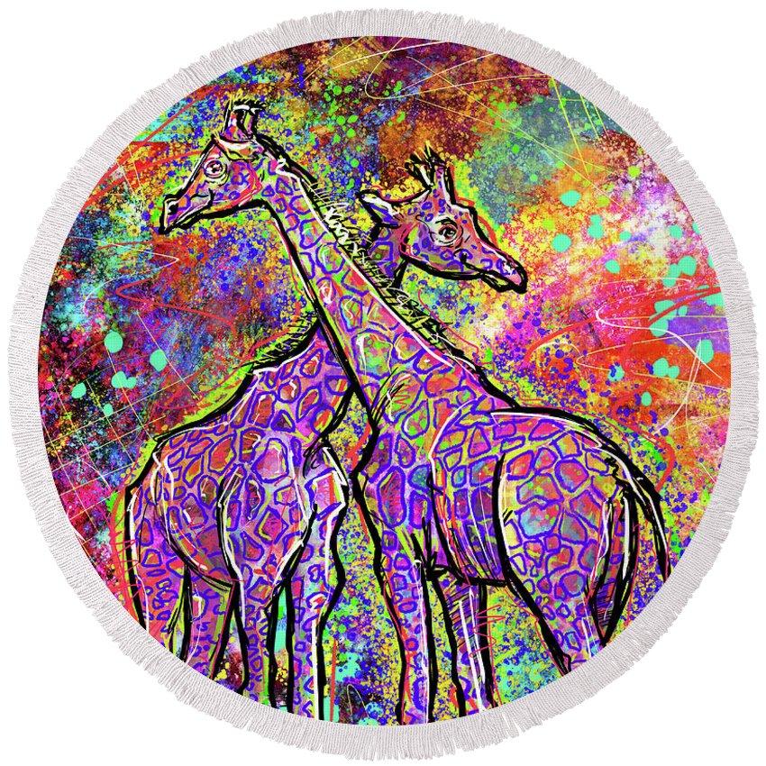Elephant Round Beach Towel featuring the digital art Giraffes by Morgan Richardson