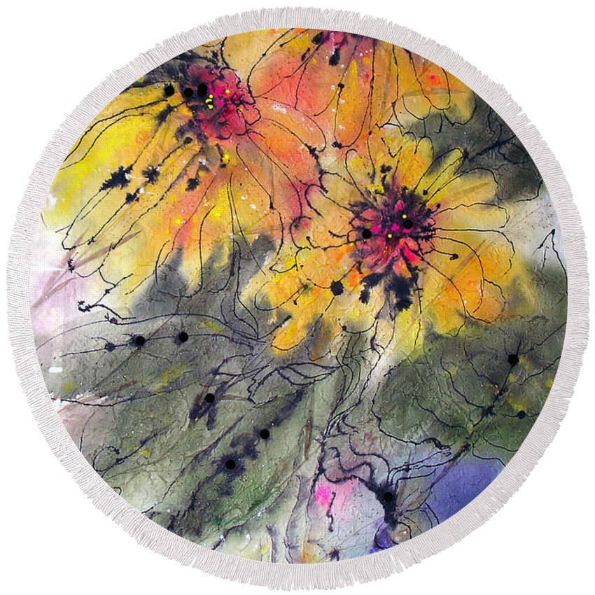 Floral Round Beach Towel featuring the painting Girasoli by Barbara Colangelo