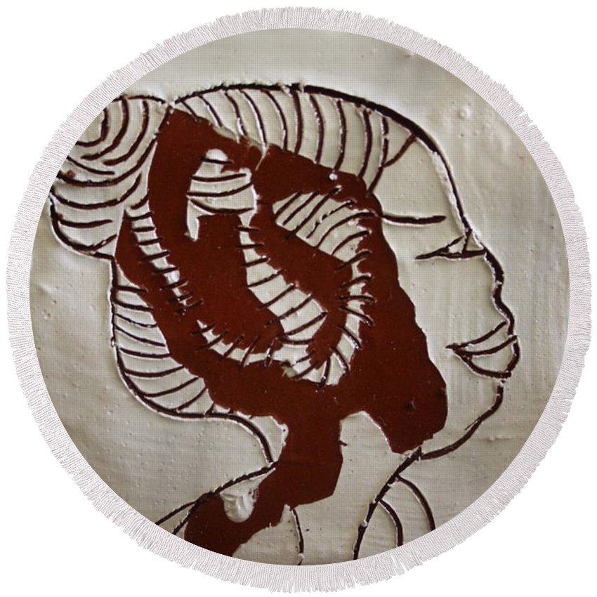 Jesus Round Beach Towel featuring the ceramic art Girl - Tile by Gloria Ssali