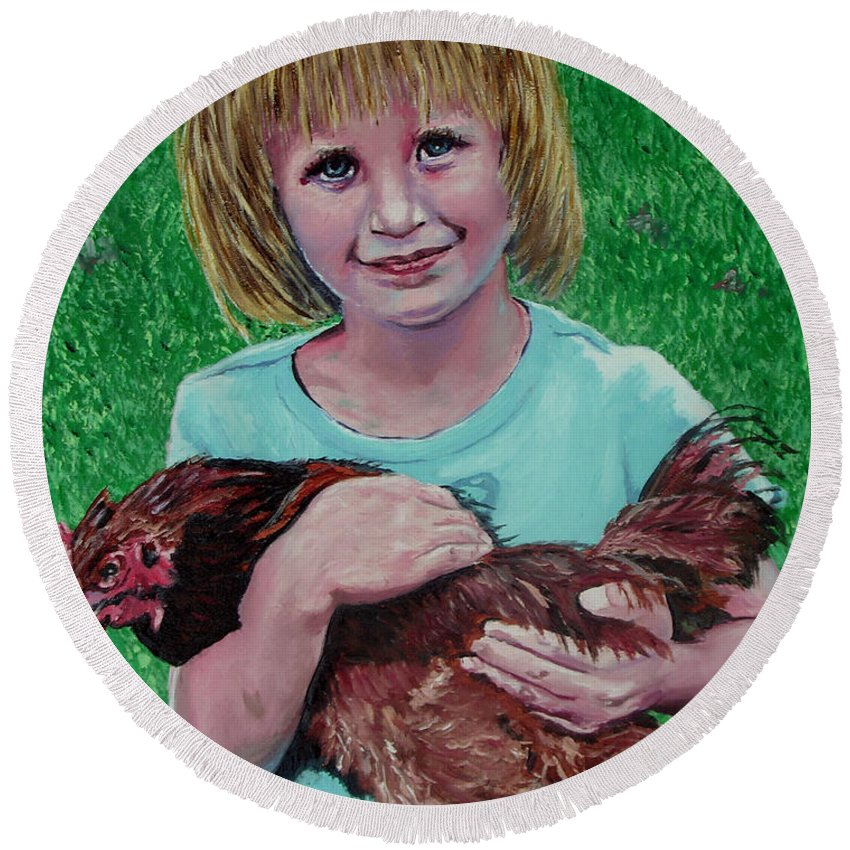 Portrait Round Beach Towel featuring the painting Girl And Chicken by Stan Hamilton