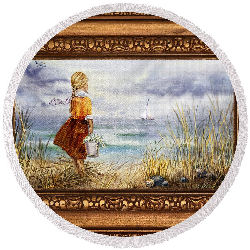Girl And The Ocean Round Beach Towel featuring the painting Girl And Ocean In Vintage Frame by Irina Sztukowski