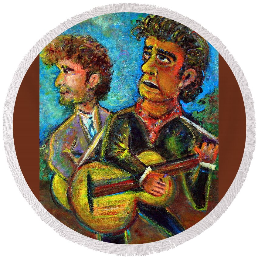 Johnny Cash And Bob Dylan In A Piece Dubbed Girl From North Country Fair Nashville Skyline Country Music Rock Music 60s Hippie Round Beach Towel featuring the painting Girl From North Country Johnny Cash And Bob Dylab by Jason Gluskin