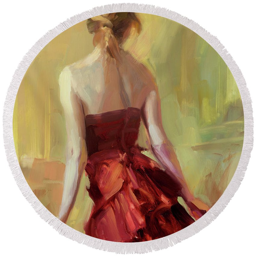 Girl Round Beach Towel featuring the painting Girl In A Copper Dress I by Steve Henderson