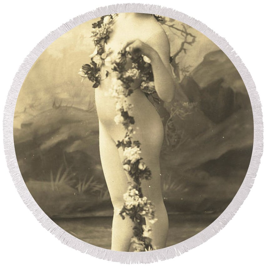 French Round Beach Towel featuring the photograph Girl In Body Stocking Holding Garland Of Flowers by French School
